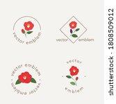 Camellia Flowers Vector Emblem...