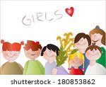 girls with mimosa | Shutterstock .eps vector #180853862