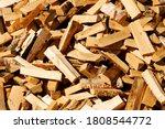 Chopped Firewood Lie In A Heap. ...