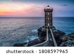 Lighthouse sea rock sunset view....
