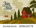 red farm house. rural landscape ... | Shutterstock .eps vector #1808628178