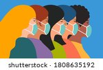 group of beautiful women with... | Shutterstock .eps vector #1808635192