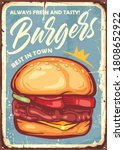 burger sign design in retro... | Shutterstock .eps vector #1808652922