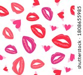 seamless pattern with lips and... | Shutterstock .eps vector #1808655985