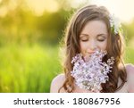 Beautiful Woman With Flowers I...