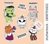 cute cat halloween sticker...   Shutterstock .eps vector #1808701822