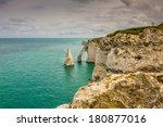 coast of etretat      tretat  ... | Shutterstock . vector #180877016