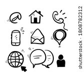 hand drawn doodle contact icon... | Shutterstock .eps vector #1808782312