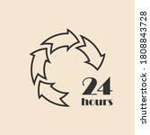 24 hours icon  outline arrows....