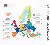 europe map infographic template ... | Shutterstock .eps vector #180886136