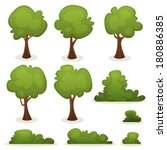 trees  hedges and bush set ... | Shutterstock .eps vector #180886385