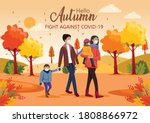 cute happy family walking in... | Shutterstock .eps vector #1808866972