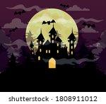 happy halloween background with ... | Shutterstock .eps vector #1808911012