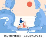 vector man with dog rides a... | Shutterstock .eps vector #1808919358