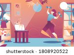woman doing aerobics at home... | Shutterstock .eps vector #1808920522