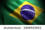Close Up Waving Flag Of Brazil. ...