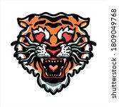 tiger in love illustration...   Shutterstock .eps vector #1809049768