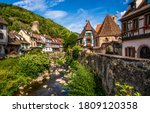 Mountain town houses in summer. ...