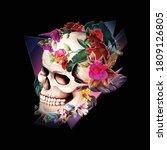 vintage illustration of skull... | Shutterstock .eps vector #1809126805