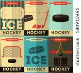 hockey posters collection.... | Shutterstock .eps vector #180912692