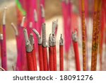 Incense in a Buddhist temple - stock photo