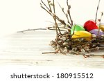 rustic eggs of easter  | Shutterstock . vector #180915512
