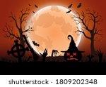 halloween spooky red vector...   Shutterstock .eps vector #1809202348