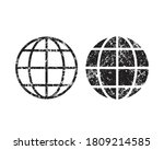 globe vector icon with grunge...