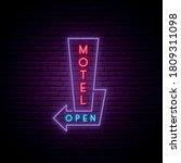 motel neon signboard. glowing... | Shutterstock .eps vector #1809311098