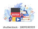 online language courses flat...   Shutterstock . vector #1809330535