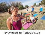 boot camp fitness trainer... | Shutterstock . vector #180934136