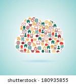 networking design over blue... | Shutterstock .eps vector #180935855