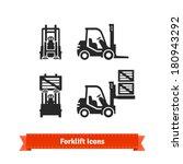 Forklift Icons Set.