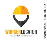 worker locator vector logo... | Shutterstock .eps vector #1809483715