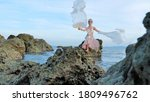 magical fairy posing on a rocky ... | Shutterstock . vector #1809496762