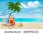 beach with palm trees and beach ... | Shutterstock .eps vector #180950222