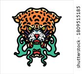 angry leopard tattoo vector... | Shutterstock .eps vector #1809515185