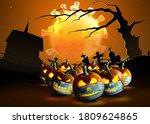 Halloween Pumpkins In A...