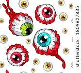 colorful eyeballs seamless... | Shutterstock .eps vector #1809627835
