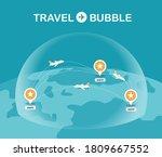 travel bubble concept vector... | Shutterstock .eps vector #1809667552