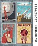 old soviet propaganda posters...   Shutterstock .eps vector #1809679555
