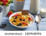 Enjoy your healthy breakfast with fruits - stock photo