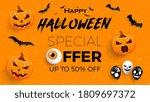 halloween sale promotion poster ... | Shutterstock .eps vector #1809697372