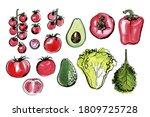 sketch of food vegetables by... | Shutterstock .eps vector #1809725728