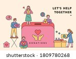people are making donations... | Shutterstock .eps vector #1809780268