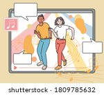 a video of a couple dancing on... | Shutterstock .eps vector #1809785632