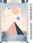 pastel space pyramid  big cloud ... | Shutterstock .eps vector #1809818272