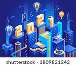 futuristic business city in... | Shutterstock .eps vector #1809821242