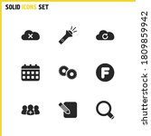 interface icons set with cloud  ...