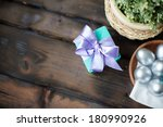 silver easter eggs with giftbox ...   Shutterstock . vector #180990926